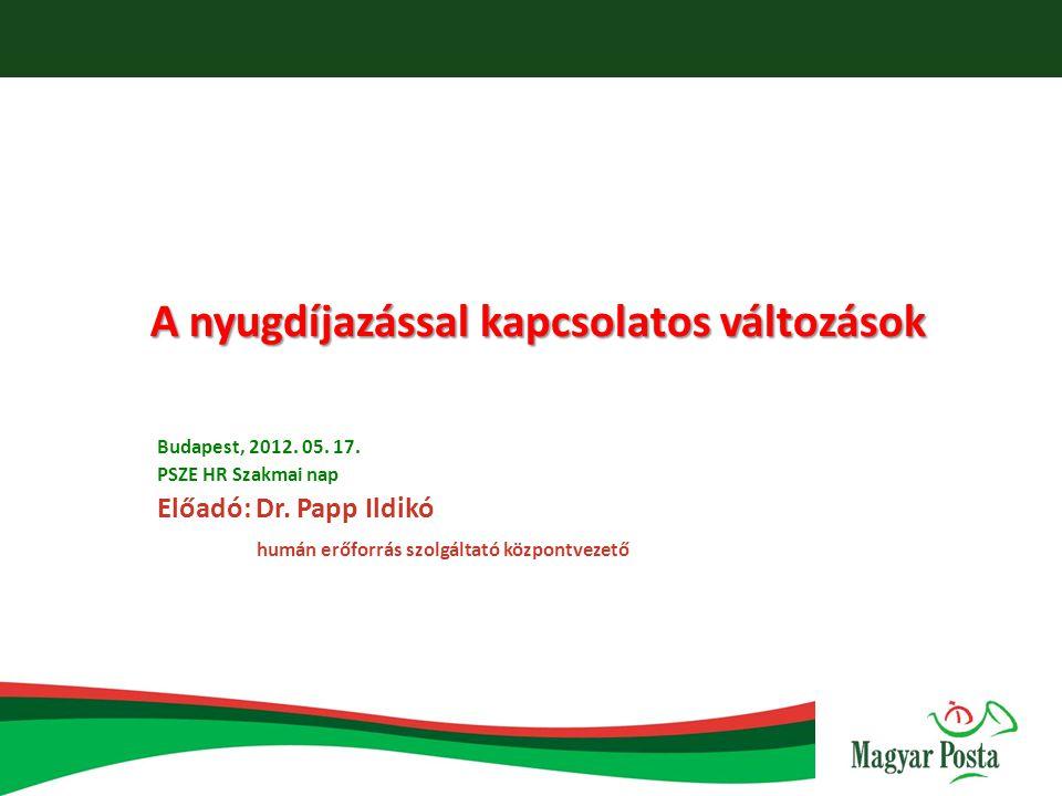 A nyugdíjazással kapcsolatos változások Budapest, 2012. 05. 17. PSZE HR Szakmai nap Előadó: Dr. Papp Ildikó humán erőforrás szolgáltató központvezető