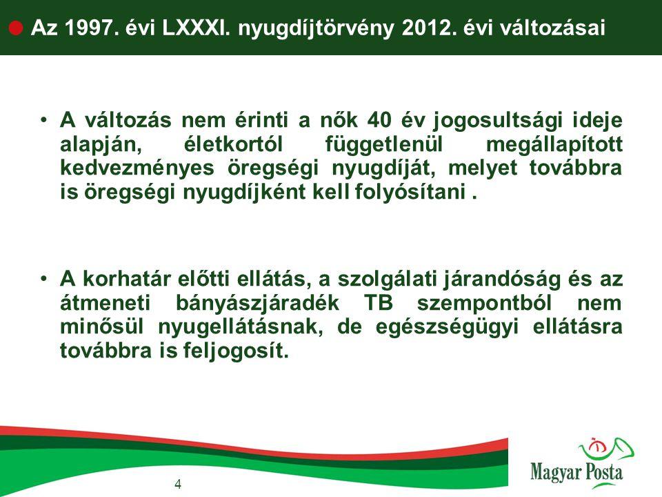 4  Az 1997. évi LXXXI. nyugdíjtörvény 2012. évi változásai •A változás nem érinti a nők 40 év jogosultsági ideje alapján, életkortól függetlenül megá