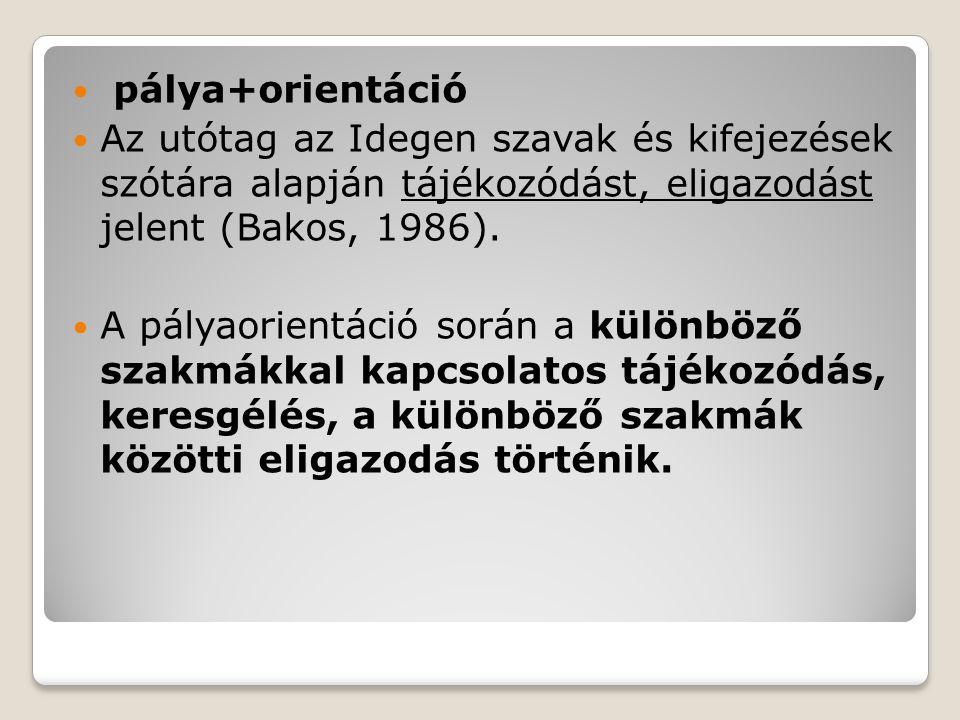  pálya+orientáció  Az utótag az Idegen szavak és kifejezések szótára alapján tájékozódást, eligazodást jelent (Bakos, 1986).