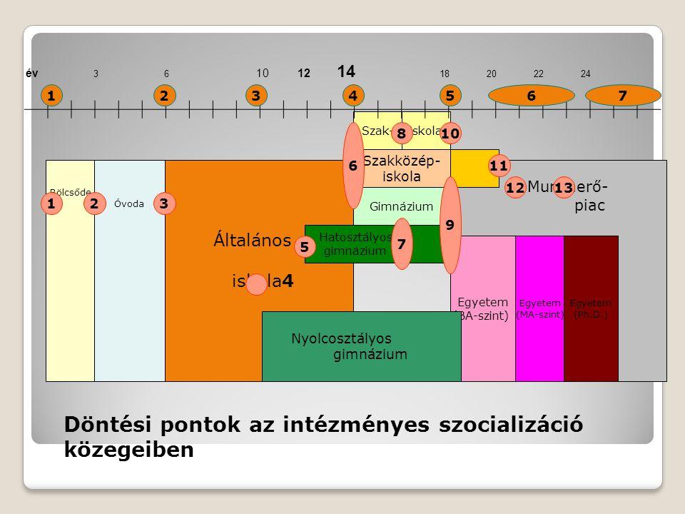 Munkaerő- piac Általános iskola4 Bölcsőde Óvoda Hatosztályos gimnázium Egyetem (Ph.D.) iskola Egyetem (BA-szint) Szakközép- iskola Nyolcosztályos gimnázium Gimnázium Szak- Egyetem (MA-szint) év 3 6 10 12 14 18 20 22 24 3 6 810 7 13 5 11 9 2 12 1 2451637 Döntési pontok az intézményes szocializáció közegeiben