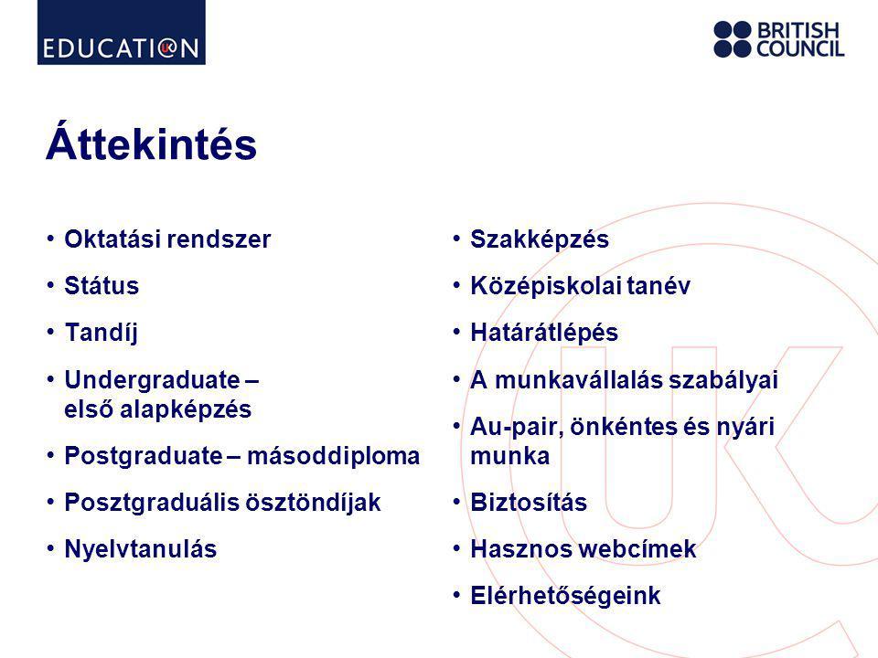 Nyelvtanulás • www.educationuk.org www.educationuk.org • British Council által akkreditált nyelviskolák – minőség, megbízhatóság • Minőségbiztosítás: http://www.britishcouncil.org/accreditation- more-about-your-accredited-centre.htmhttp://www.britishcouncil.org/accreditation- more-about-your-accredited-centre.htm • Kezdő szinttől a felsőfokig • Általános, üzleti, nyelvvizsga-előkészítő, gyerek, nyári, stb.