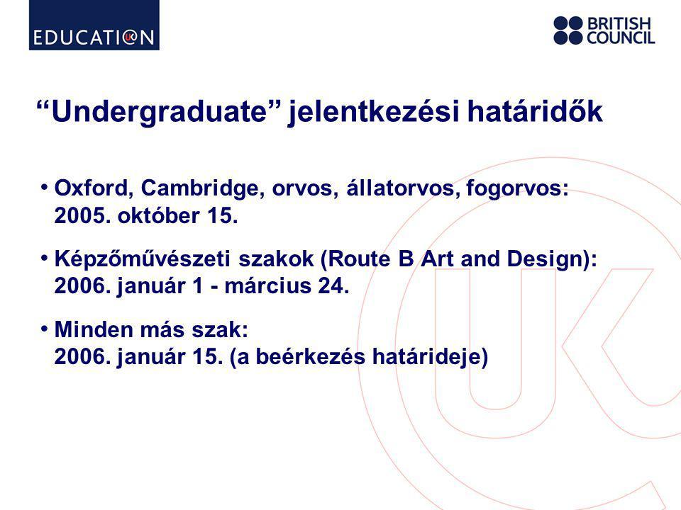 Undergraduate jelentkezési határidők • Oxford, Cambridge, orvos, állatorvos, fogorvos: 2005.