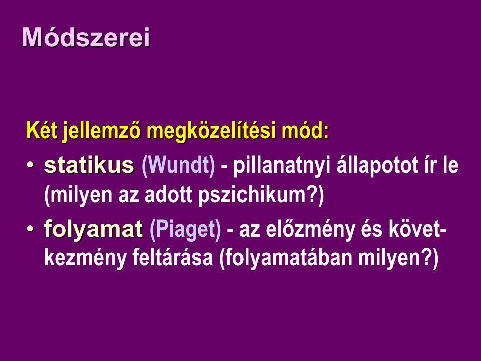 Módszerei Két jellemző megközelítési mód: •statikus •statikus (Wundt) - pillanatnyi állapotot ír le (milyen az adott pszichikum?) •folyamat •folyamat