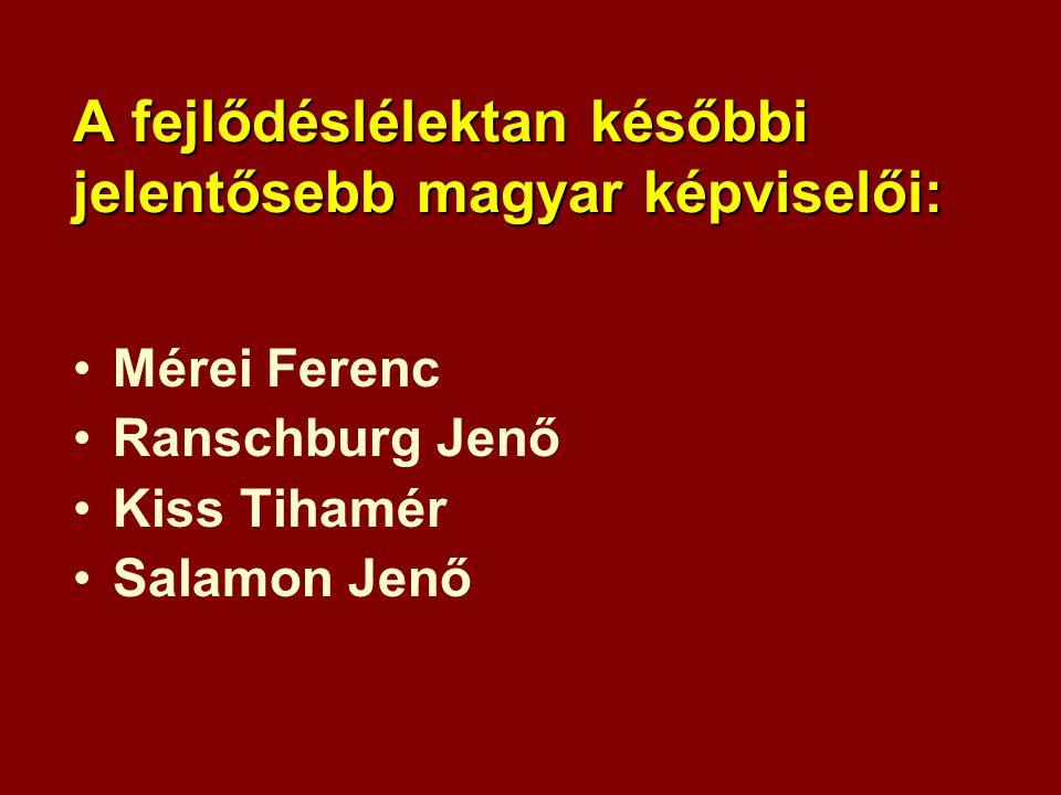 A fejlődéslélektan későbbi jelentősebb magyar képviselői: •Mérei Ferenc •Ranschburg Jenő •Kiss Tihamér •Salamon Jenő