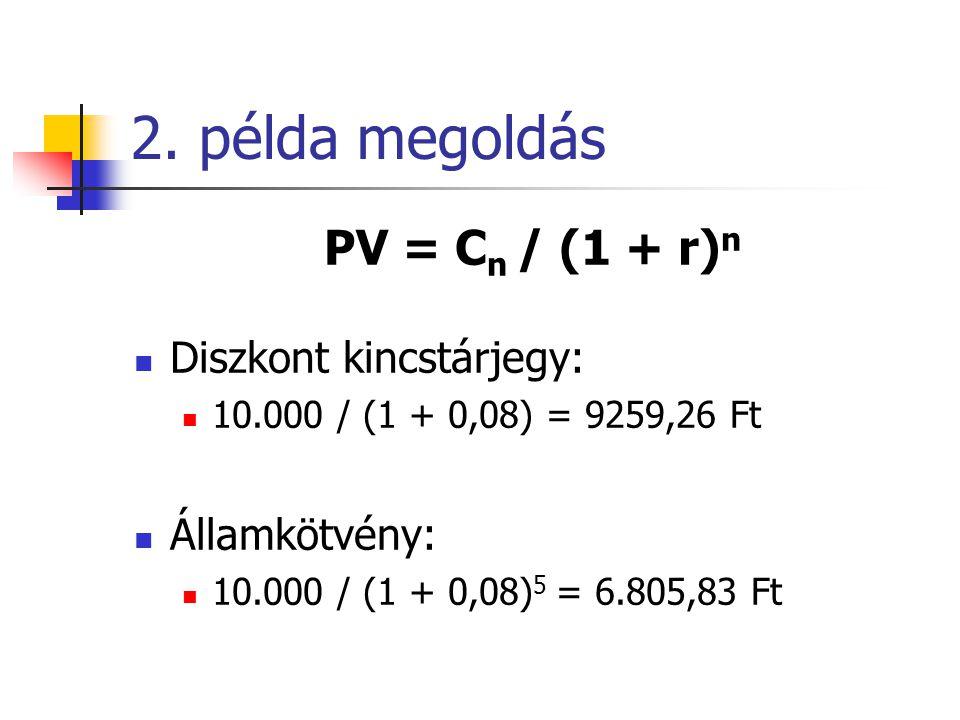 2. példa megoldás PV = C n / (1 + r) n  Diszkont kincstárjegy:  10.000 / (1 + 0,08) = 9259,26 Ft  Államkötvény:  10.000 / (1 + 0,08) 5 = 6.805,83