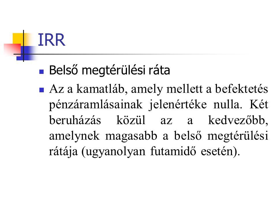 IRR  Belső megtérülési ráta  Az a kamatláb, amely mellett a befektetés pénzáramlásainak jelenértéke nulla. Két beruházás közül az a kedvezőbb, amely