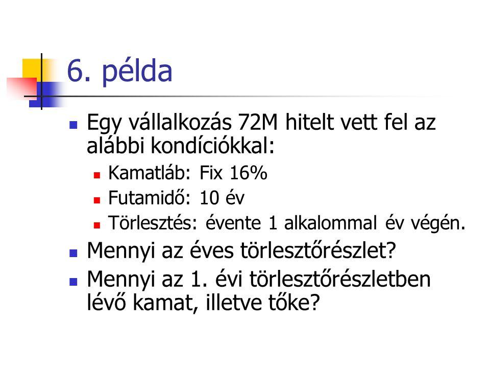 6. példa  Egy vállalkozás 72M hitelt vett fel az alábbi kondíciókkal:  Kamatláb: Fix 16%  Futamidő: 10 év  Törlesztés: évente 1 alkalommal év végé