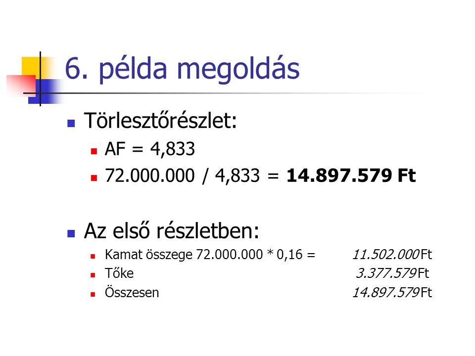 6. példa megoldás  Törlesztőrészlet:  AF = 4,833  72.000.000 / 4,833 = 14.897.579 Ft  Az első részletben:  Kamat összege 72.000.000 * 0,16 = 11.5