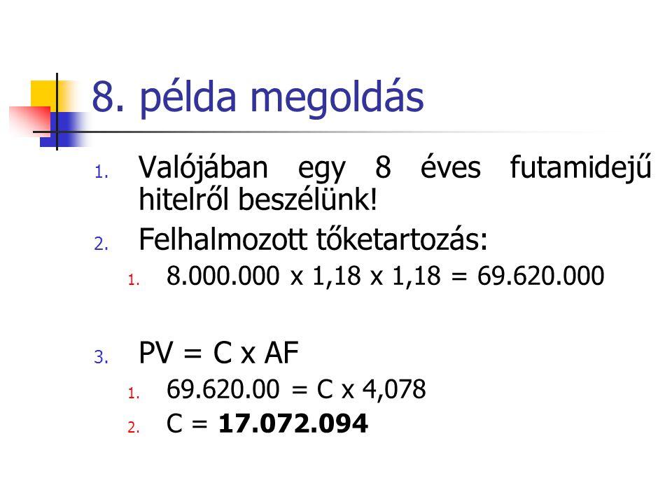 8. példa megoldás 1. Valójában egy 8 éves futamidejű hitelről beszélünk! 2. Felhalmozott tőketartozás: 1. 8.000.000 x 1,18 x 1,18 = 69.620.000 3. PV =