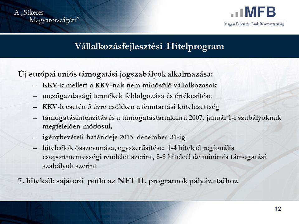 12 Vállalkozásfejlesztési Hitelprogram Új európai uniós támogatási jogszabályok alkalmazása: –KKV-k mellett a KKV-nak nem minősülő vállalkozások –mezőgazdasági termékek feldolgozása és értékesítése –KKV-k esetén 3 évre csökken a fenntartási kötelezettség –támogatásintenzitás és a támogatástartalom a 2007.