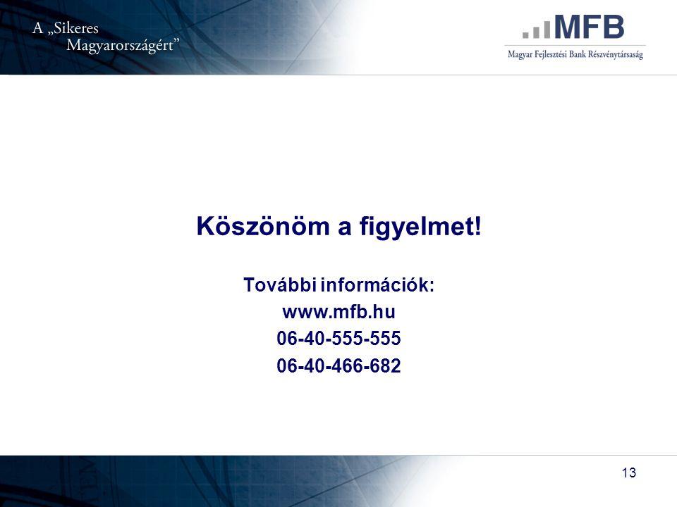 13 Köszönöm a figyelmet! További információk: www.mfb.hu 06-40-555-555 06-40-466-682