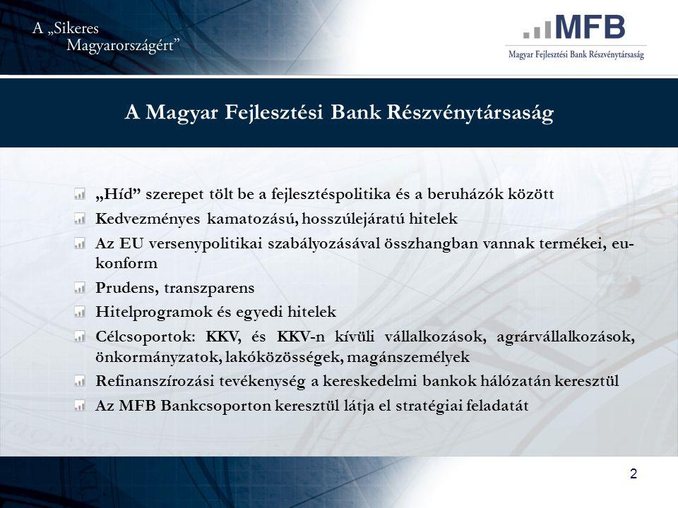 """2 A Magyar Fejlesztési Bank Részvénytársaság """"Híd szerepet tölt be a fejlesztéspolitika és a beruházók között Kedvezményes kamatozású, hosszúlejáratú hitelek Az EU versenypolitikai szabályozásával összhangban vannak termékei, eu- konform Prudens, transzparens Hitelprogramok és egyedi hitelek Célcsoportok: KKV, és KKV-n kívüli vállalkozások, agrárvállalkozások, önkormányzatok, lakóközösségek, magánszemélyek Refinanszírozási tevékenység a kereskedelmi bankok hálózatán keresztül Az MFB Bankcsoporton keresztül látja el stratégiai feladatát"""