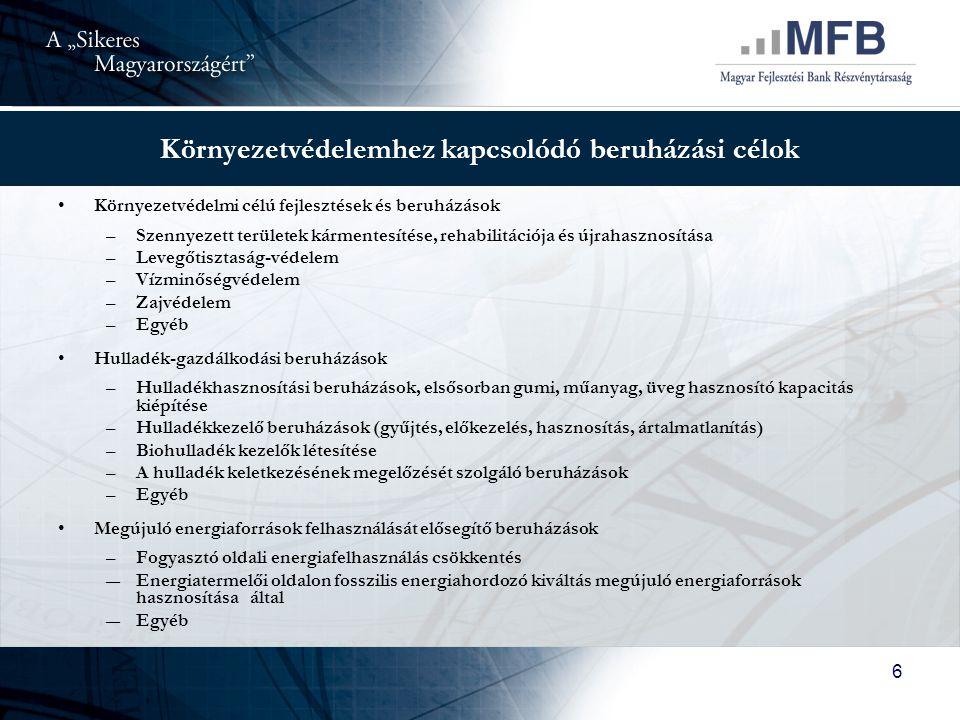"""7 """"Sikeres Magyarországért Önkormányzati Infrastruktúrafejlesztési Hitelprogram 135 mrd Ft-os keretösszeg, közel 1100 ügyfél, 106 mrd Ft jóváhagyott hitel Hitelfelvevők: helyi önkormányzatok, a helyi önkormányzatok társulásai és a települési önkormányzatok többcélú kistérségi társulásai Kedvezményes kamat: 3 havi EURIBOR + 2,5/3,5 %/év (jelenleg 6,4/7,4 %), alacsony járulékos költségek Türelmi idő: legfeljebb 3 év, futamidő legfeljebb 20 év Környezetvédelmi hitelcélok Pályázat kiegészítő hitelcél az önerő finanszírozásra Széleskörű hozzáférhetőség a kereskedelmi bankokon keresztül, közbeszerzési eljárás a finanszírozó kiválasztására"""