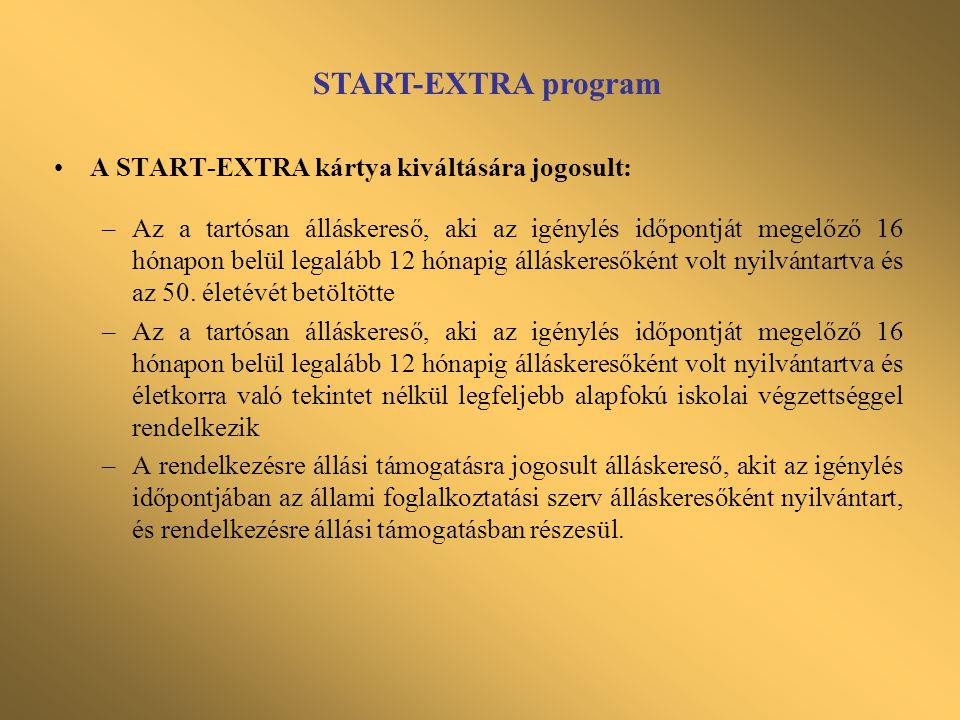 •A START-EXTRA kártya kiváltására jogosult: –Az a tartósan álláskereső, aki az igénylés időpontját megelőző 16 hónapon belül legalább 12 hónapig állás