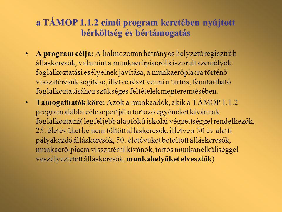 """Meghirdetett programok munkahelyek megőrzésére: •Országos Foglalkoztatási Közalapítvány (OFA) keretében lévő programok (Megőrzés - 9122, Munkába - 9124, Új kilátások – 9111) •A regionális munkaügyi központok kezelésében lévő """"Munkahelyek megőrzéséért program •Központi munkahelymegőrző támogatási program •Munkaerőpiaci alap foglalkoztatási alaprész decentralizált keretéből nyújtható támogatás •TÁMOP 2.3.3 Munkahely megőrző támogatás munkaidő-csökkentéssel és képzéssel kombinálva"""