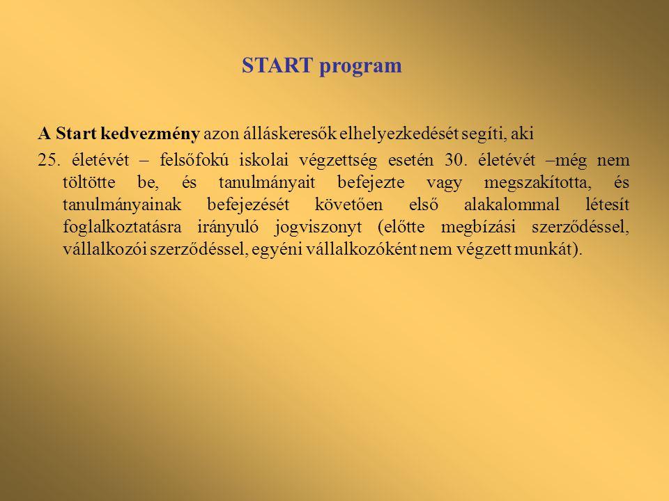 START-PLUSZ program •A START-PLUSZ kártya kiváltására jogosult, az a személy, aki –a GYES, GYET, GYED, ápolási díj folyósításának megszűnését követő egy éven belül kíván foglalkoztatásra irányuló jogviszonyt létesíteni, vagy –a gyermek 1 éves korának betöltése után, a GYES folyósítása mellett kíván munkát vállalni, feltéve, hogy a GYES, GYED, GYET, családtag ápolásának időszakára igénybevett fizetés nélküli szabadság, illetve távollét alatt megszűnt a munkaviszonya, nincs (vagy a gyes folyósítása előtt sem volt) munkáltatója.