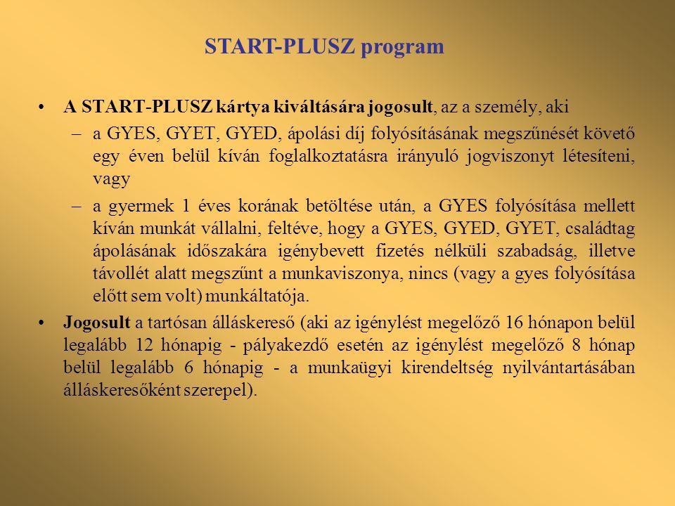 START-PLUSZ program •A START-PLUSZ kártya kiváltására jogosult, az a személy, aki –a GYES, GYET, GYED, ápolási díj folyósításának megszűnését követő e