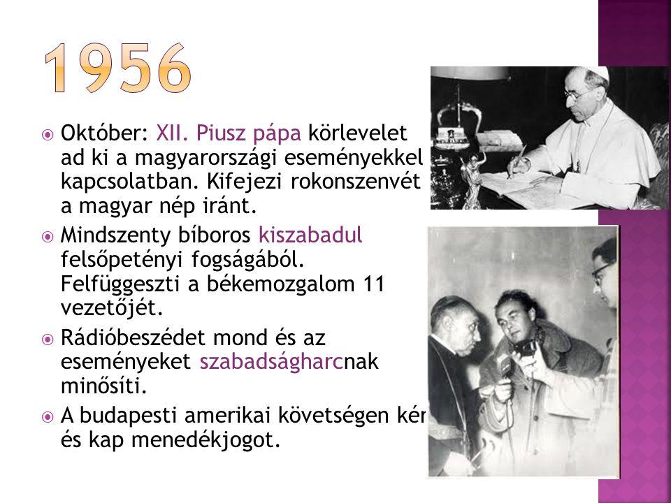  Október: XII.Piusz pápa körlevelet ad ki a magyarországi eseményekkel kapcsolatban.