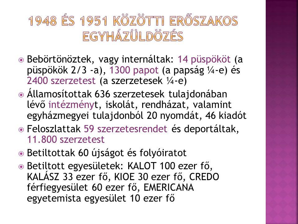  Bebörtönöztek, vagy internáltak: 14 püspököt (a püspökök 2/3 -a), 1300 papot (a papság ¼-e) és 2400 szerzetest (a szerzetesek ¼-e)  Államosítottak 636 szerzetesek tulajdonában lévő intézményt, iskolát, rendházat, valamint egyházmegyei tulajdonból 20 nyomdát, 46 kiadót  Feloszlattak 59 szerzetesrendet és deportáltak, 11.800 szerzetest  Betiltottak 60 újságot és folyóiratot  Betiltott egyesületek: KALOT 100 ezer fő, KALÁSZ 33 ezer fő, KIOE 30 ezer fő, CREDO férfiegyesület 60 ezer fő, EMERICANA egyetemista egyesület 10 ezer fő