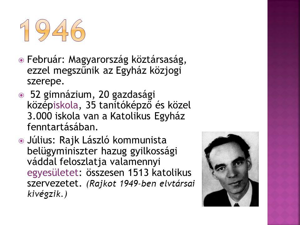  Február: Magyarország köztársaság, ezzel megszűnik az Egyház közjogi szerepe.