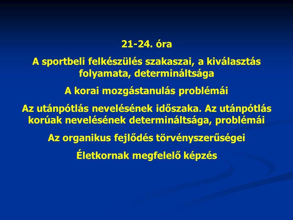 21-24. óra A sportbeli felkészülés szakaszai, a kiválasztás folyamata, determináltsága A korai mozgástanulás problémái Az utánpótlás nevelésének idősz