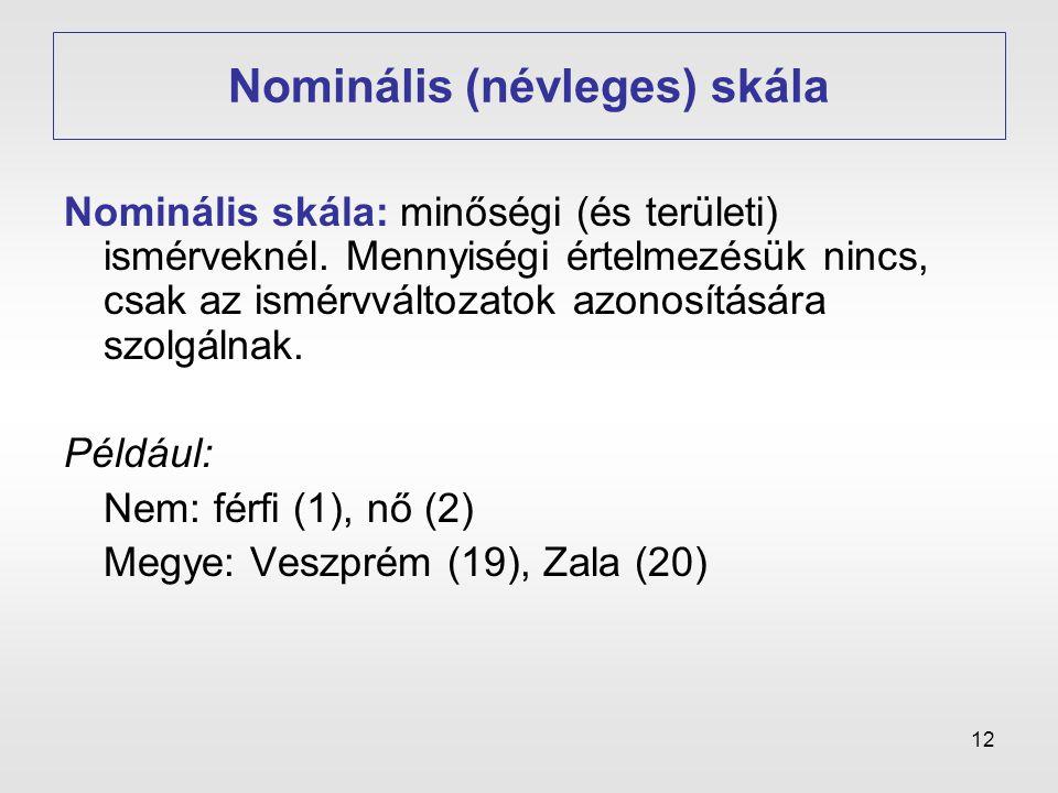 12 Nominális (névleges) skála Nominális skála: minőségi (és területi) ismérveknél. Mennyiségi értelmezésük nincs, csak az ismérvváltozatok azonosításá