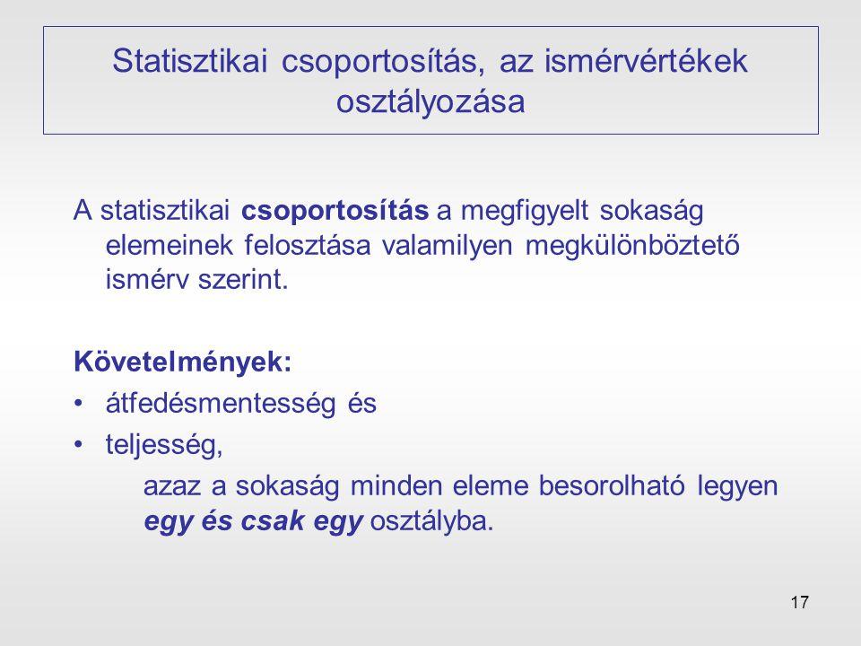 17 Statisztikai csoportosítás, az ismérvértékek osztályozása A statisztikai csoportosítás a megfigyelt sokaság elemeinek felosztása valamilyen megkülö