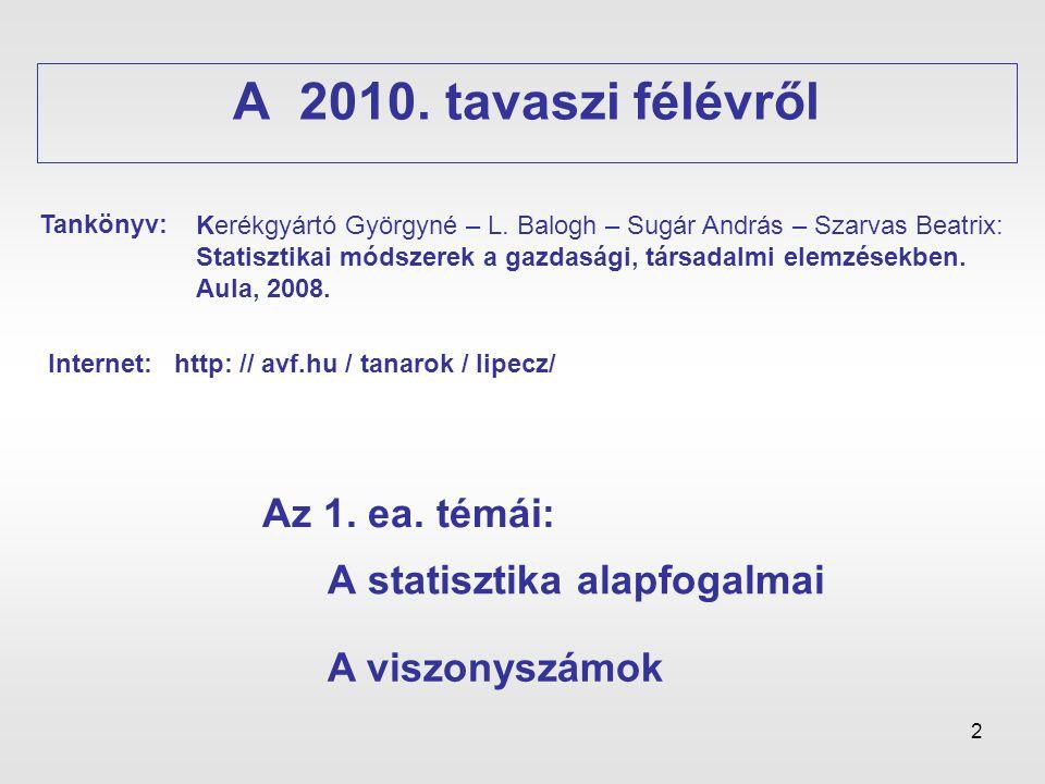 2 A statisztika alapfogalmai A 2010. tavaszi félévről A viszonyszámok Kerékgyártó Györgyné – L. Balogh – Sugár András – Szarvas Beatrix: Statisztikai