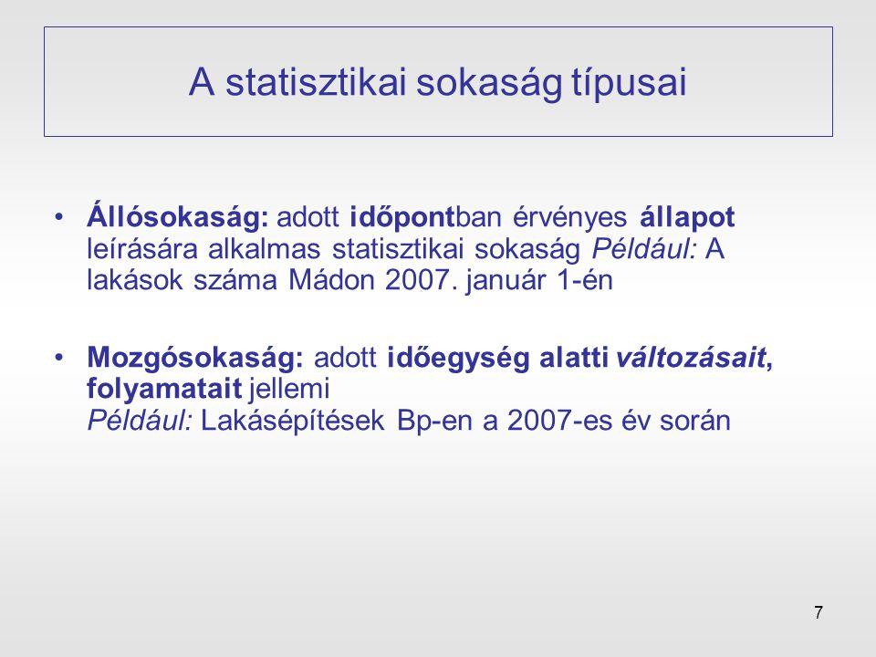 7 A statisztikai sokaság típusai •Állósokaság: adott időpontban érvényes állapot leírására alkalmas statisztikai sokaság Például: A lakások száma Mádo