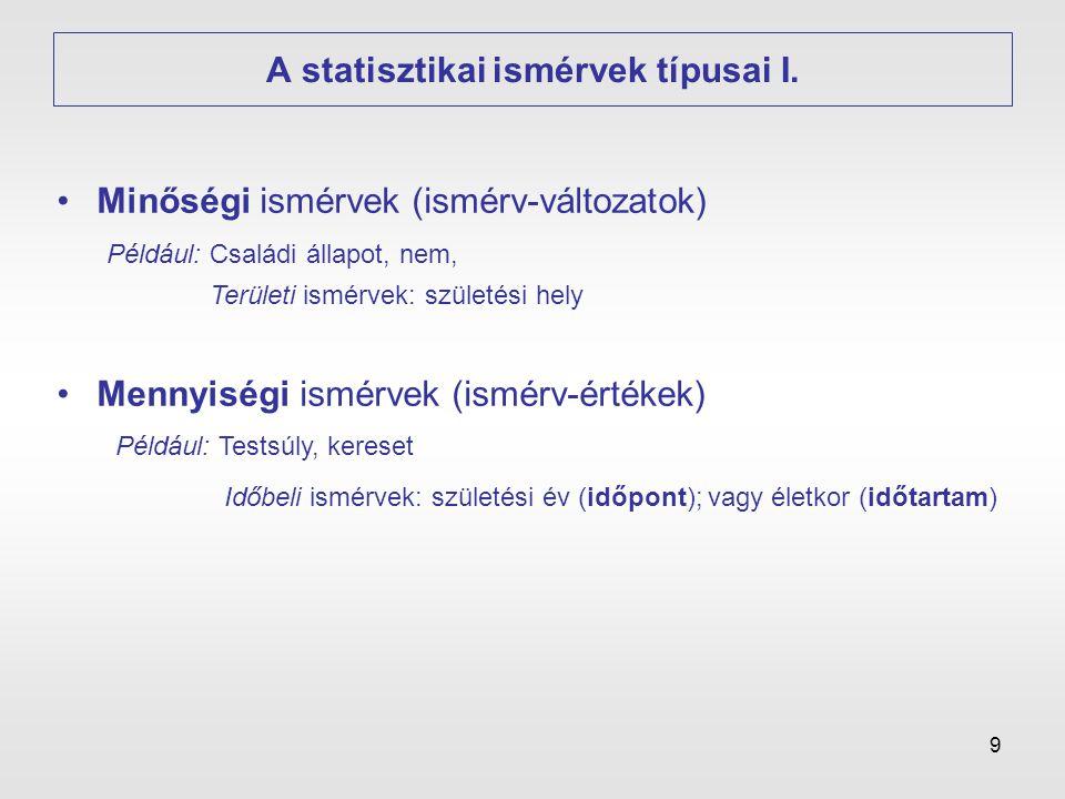 9 A statisztikai ismérvek típusai I. •Mennyiségi ismérvek (ismérv-értékek) •Minőségi ismérvek (ismérv-változatok) Például: Családi állapot, nem, Terül