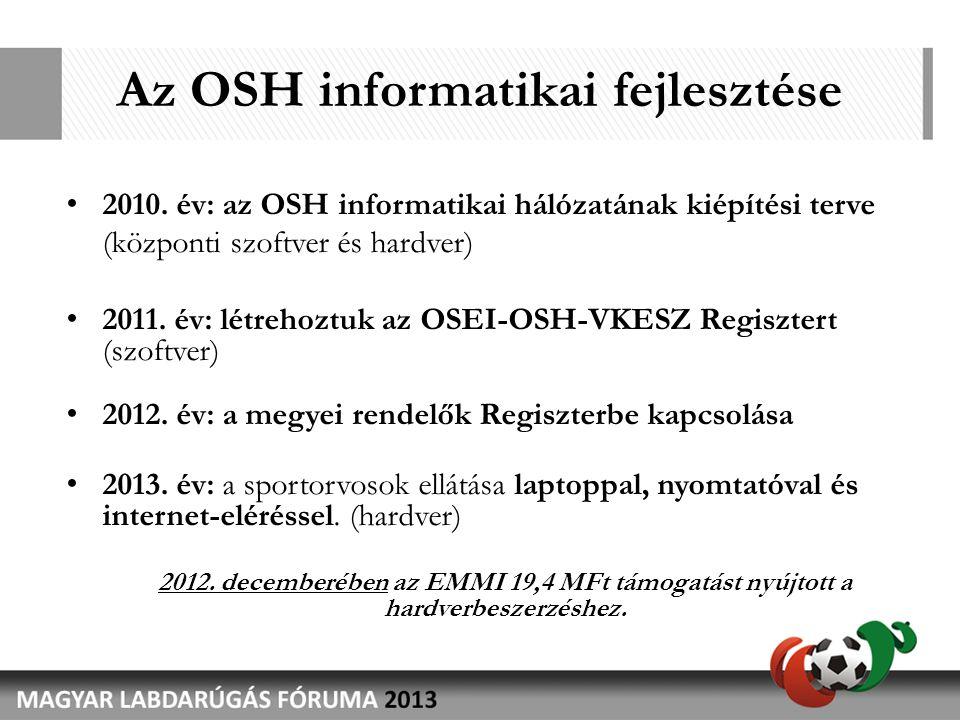 Az OSH informatikai fejlesztése • 2010. év: az OSH informatikai hálózatának kiépítési terve (központi szoftver és hardver) • 2011. év: létrehoztuk az