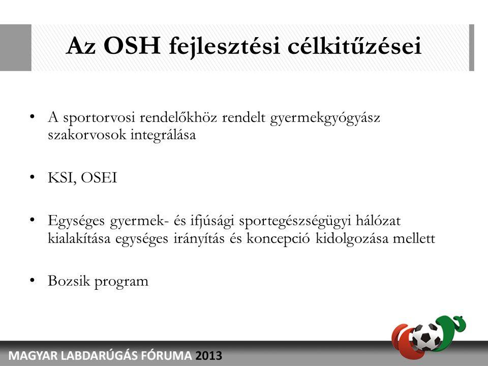 Az OSH fejlesztési célkitűzései • A sportorvosi rendelőkhöz rendelt gyermekgyógyász szakorvosok integrálása • KSI, OSEI • Egységes gyermek- és ifjúsági sportegészségügyi hálózat kialakítása egységes irányítás és koncepció kidolgozása mellett • Bozsik program