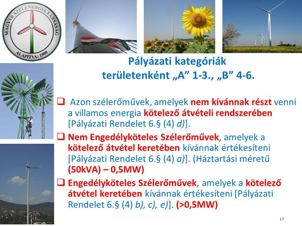  Azon szélerőművek, amelyek nem kívánnak részt venni a villamos energia kötelező átvételi rendszerében [Pályázati Rendelet 6.§ (4) d)].