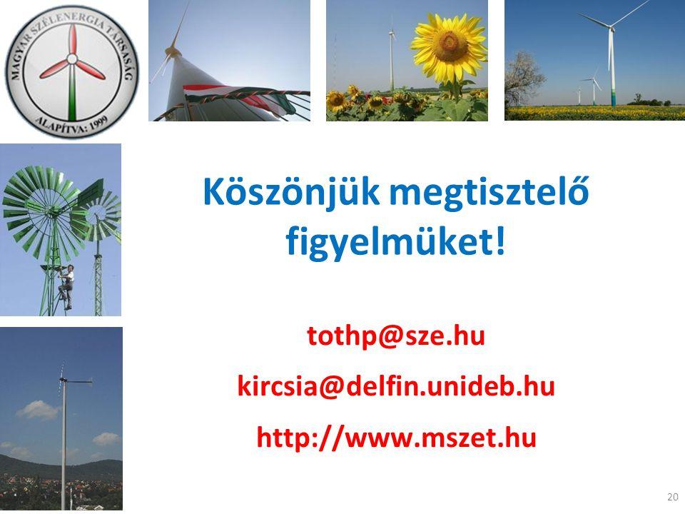 Köszönjük megtisztelő figyelmüket! tothp@sze.hu kircsia@delfin.unideb.hu http://www.mszet.hu 20