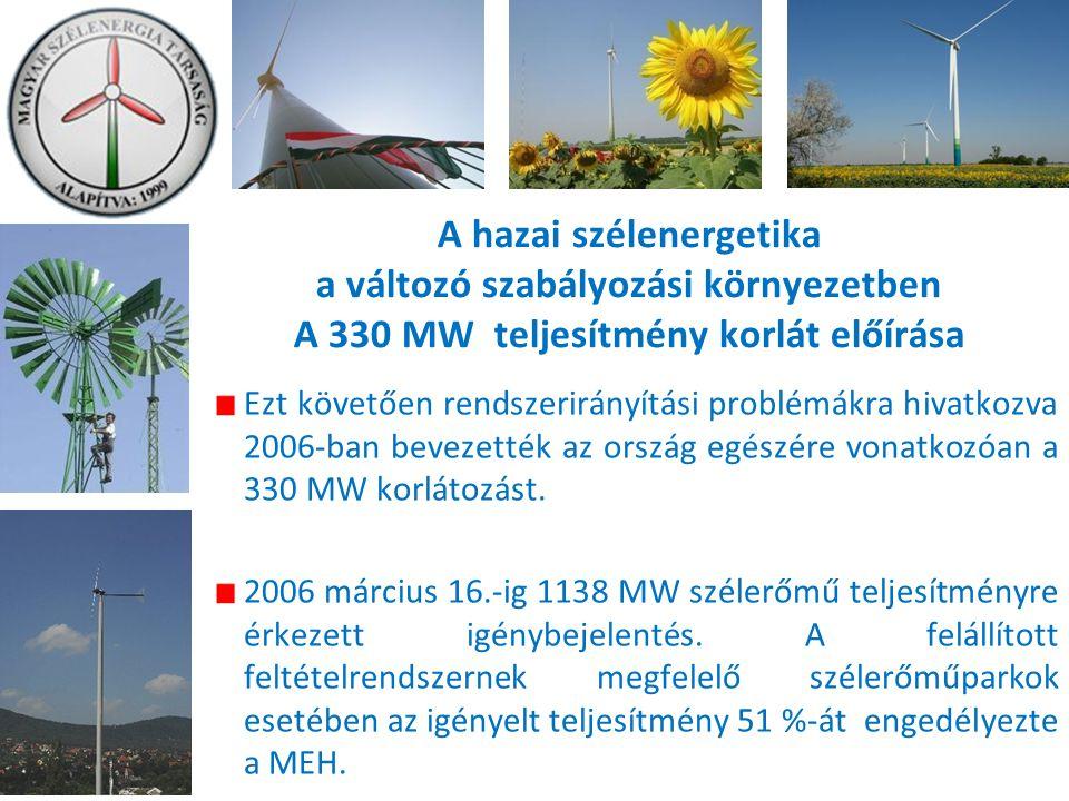A hazai szélenergetika a változó szabályozási környezetben A 330 MW teljesítmény korlát előírása Ezt követően rendszerirányítási problémákra hivatkozva 2006-ban bevezették az ország egészére vonatkozóan a 330 MW korlátozást.