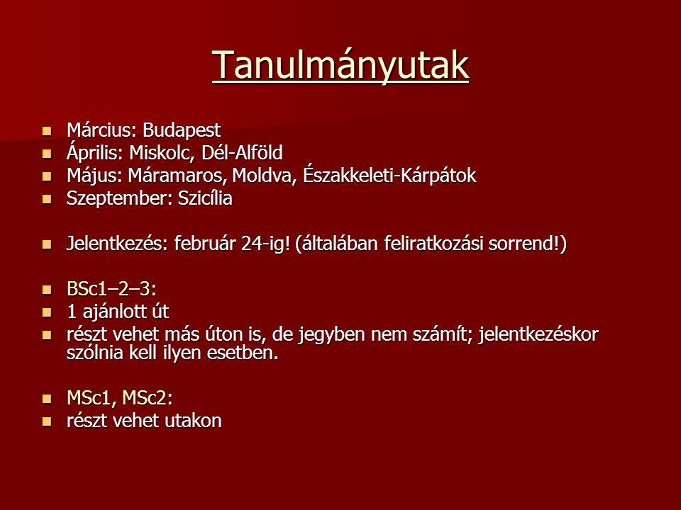 Tanulmányutak  Március: Budapest  Április: Miskolc, Dél-Alföld  Május: Máramaros, Moldva, Északkeleti-Kárpátok  Szeptember: Szicília  Jelentkezés: február 24-ig.