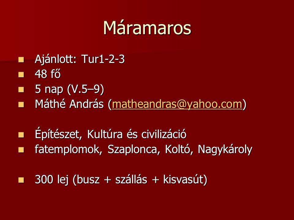 Máramaros  Ajánlott: Tur1-2-3  48 fő  5 nap (V.5–9)  Máthé András (matheandras@yahoo.com) matheandras@yahoo.com  Építészet, Kultúra és civilizáció  fatemplomok, Szaplonca, Koltó, Nagykároly  300 lej (busz + szállás + kisvasút)