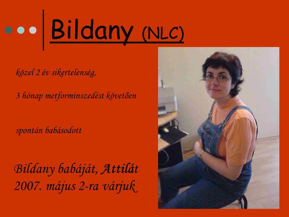 Bildany (NLC) közel 2 év sikertelenség, 3 hónap metforminszedést követően spontán babásodott Bildany babáját, Attilát 2007.