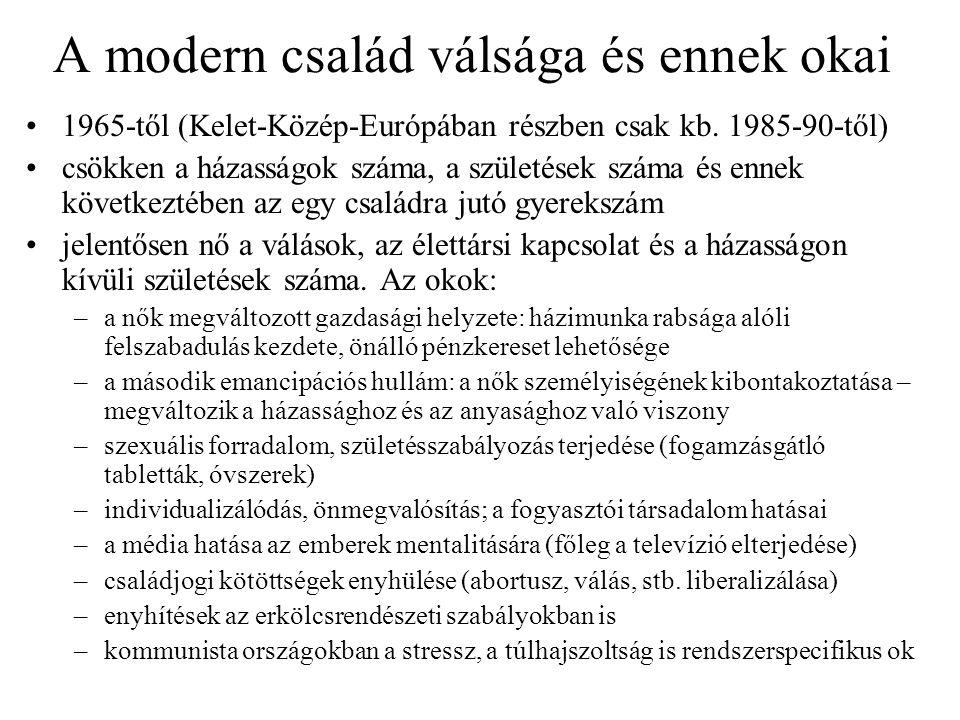 A modern család válsága és ennek okai •1965-től (Kelet-Közép-Európában részben csak kb. 1985-90-től) •csökken a házasságok száma, a születések száma é
