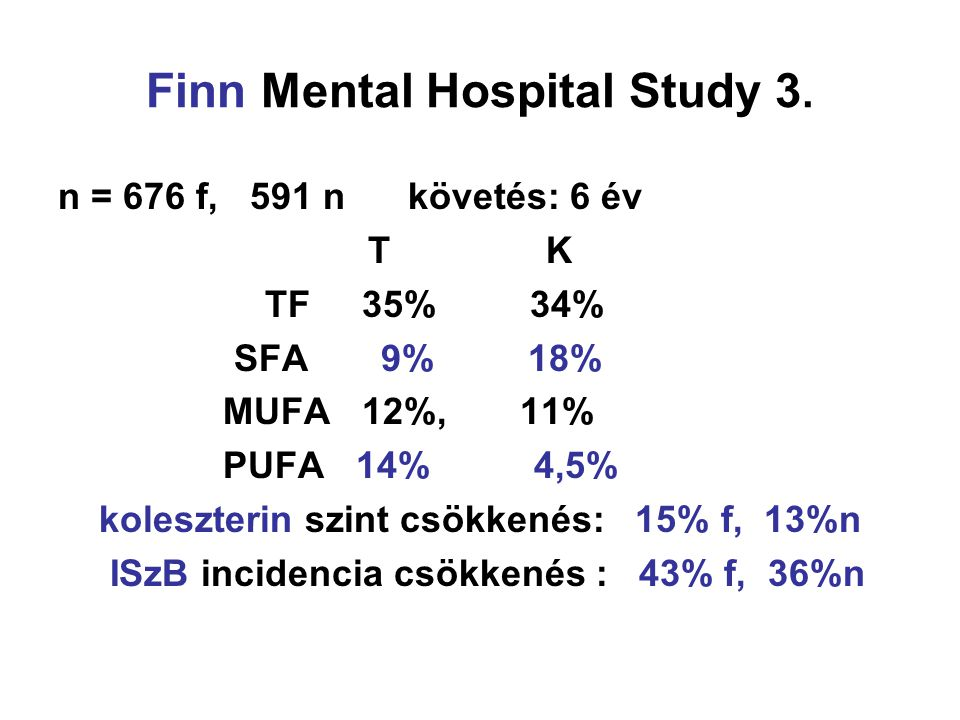 Finn Mental Hospital Study 3. n = 676 f, 591 n követés: 6 év T K TF 35% 34% SFA 9% 18% MUFA 12%, 11% PUFA 14% 4,5% koleszterin szint csökkenés: 15% f,