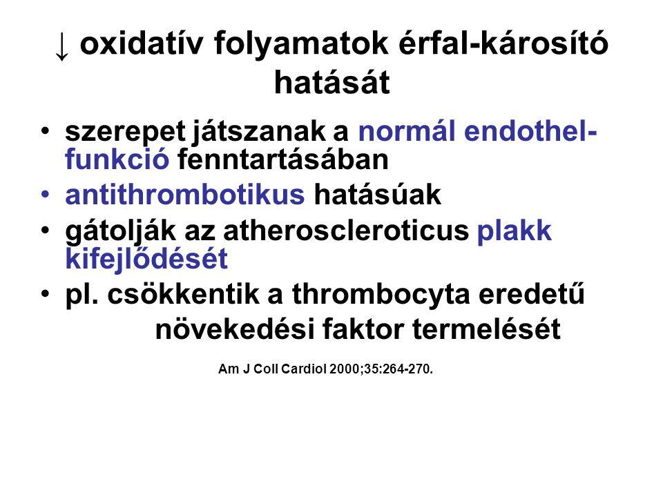 ↓ oxidatív folyamatok érfal-károsító hatását •szerepet játszanak a normál endothel- funkció fenntartásában •antithrombotikus hatásúak •gátolják az atheroscleroticus plakk kifejlődését •pl.