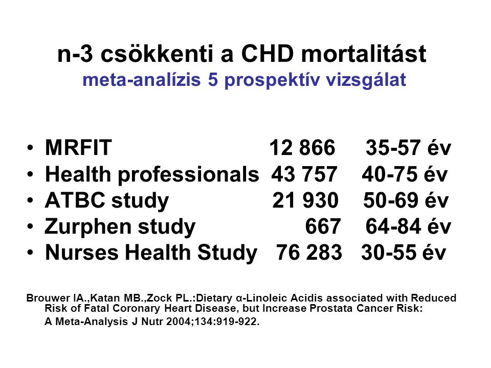 n-3 csökkenti a CHD mortalitást meta-analízis 5 prospektív vizsgálat •MRFIT 12 866 35-57 év •Health professionals 43 757 40-75 év •ATBC study 21 930 50-69 év •Zurphen study 667 64-84 év •Nurses Health Study 76 283 30-55 év Brouwer IA.,Katan MB.,Zock PL.:Dietary α-Linoleic Acidis associated with Reduced Risk of Fatal Coronary Heart Disease, but Increase Prostata Cancer Risk: A Meta-Analysis J Nutr 2004;134:919-922.