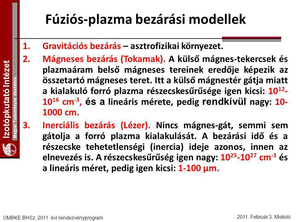 Izotópkutató Intézet Magyar Tudományos Akadémia 2011. Február 3, Miskolc OMBKE BHSz, 2011. évi rendezvényprogram Fúziós-plazma bezárási modellek 1.Gra