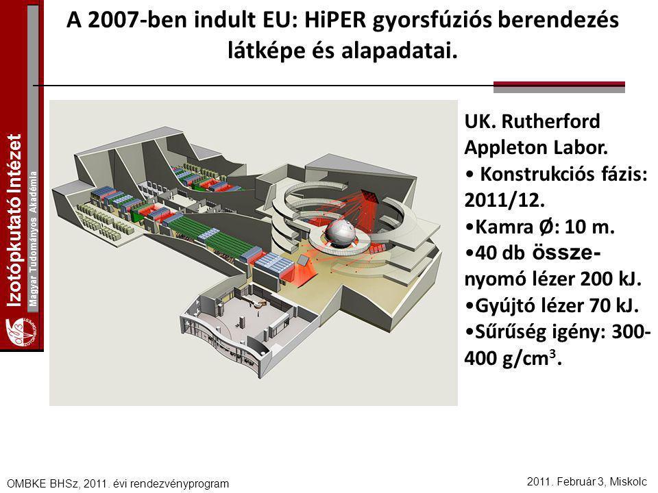 Izotópkutató Intézet Magyar Tudományos Akadémia 2011. Február 3, Miskolc OMBKE BHSz, 2011. évi rendezvényprogram A 2007-ben indult EU: HiPER gyorsfúzi