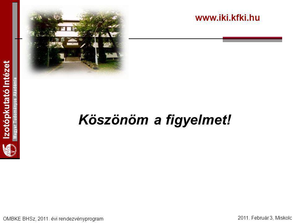 Izotópkutató Intézet Magyar Tudományos Akadémia 2011. Február 3, Miskolc OMBKE BHSz, 2011. évi rendezvényprogram Köszönöm a figyelmet! www.iki.kfki.hu