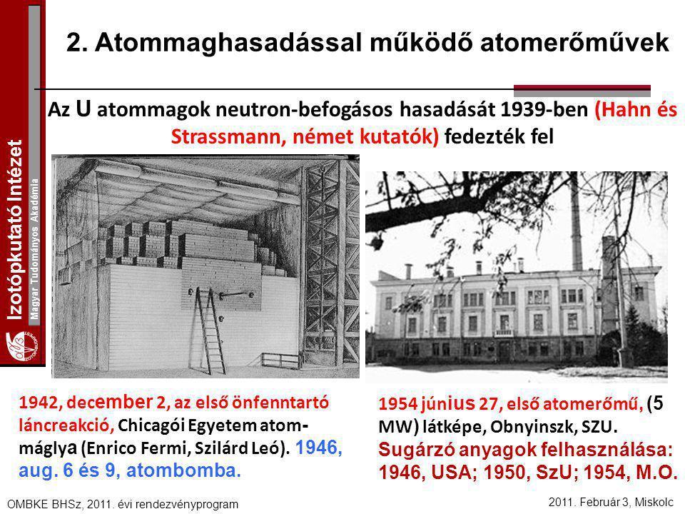 Izotópkutató Intézet Magyar Tudományos Akadémia 2011. Február 3, Miskolc OMBKE BHSz, 2011. évi rendezvényprogram 2. Atommaghasadással működő atomerőmű