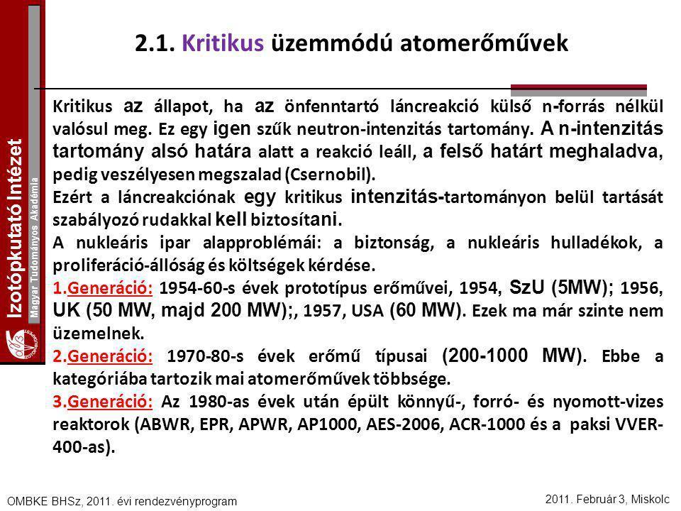 Izotópkutató Intézet Magyar Tudományos Akadémia 2011. Február 3, Miskolc OMBKE BHSz, 2011. évi rendezvényprogram 2.1. Kritikus üzemmódú atomerőművek K