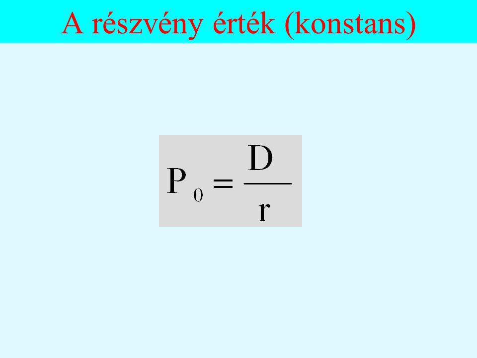 Részvény értéke III. Az osztalék értékelési modell alkalmazása: 1. Nincsen növekedés az osztalékban. 2. Konstans növekedés az osztalékban. 3. Változó