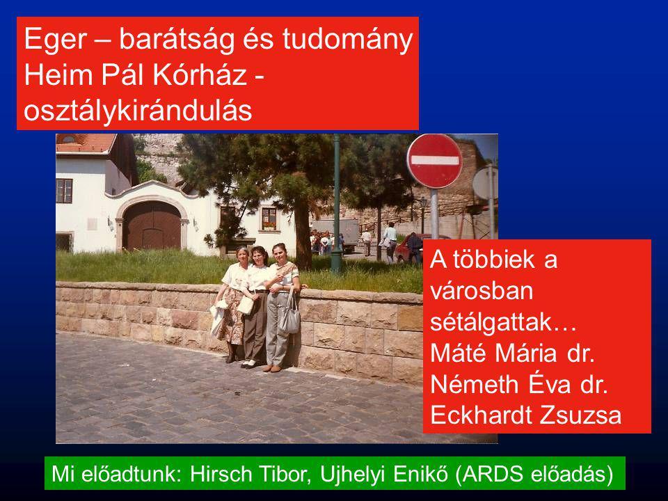 Eger – barátság és tudomány Heim Pál Kórház - osztálykirándulás Mi előadtunk: Hirsch Tibor, Ujhelyi Enikő (ARDS előadás) A többiek a városban sétálgat