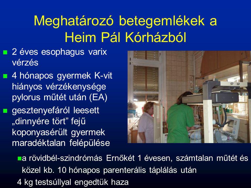 Meghatározó betegemlékek a Heim Pál Kórházból n n 2 éves esophagus varix vérzés n n 4 hónapos gyermek K-vit hiányos vérzékenysége pylorus műtét után (